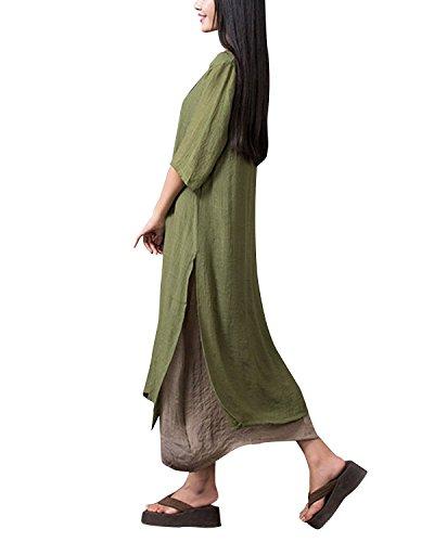 Verde Elegante Donna Moda Mezze Maxi Manica Girocollo ZANZEA Casual Lungo Ufficio Maniche Vestito Cocktail Dress Corta Militare Abito awxBv