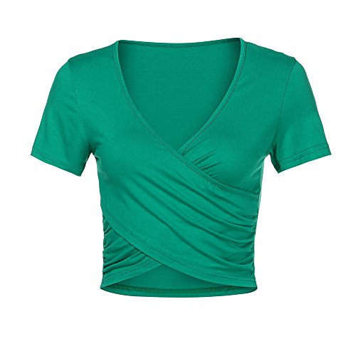 (HAALIFE◕‿Women's Deep V Neck Short Sleeve Unique Slim Fit Coss Wrap Shirts Crop Tops Green)