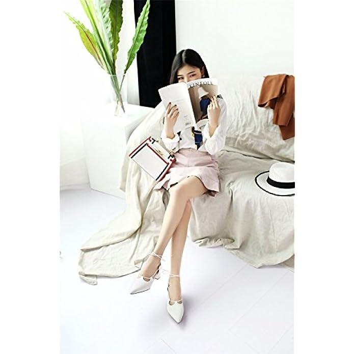 Scarpe E Borse Da Donna Sandali Pelle Summer Comfort Lace-up Sandals Tacco Ruvido Punta Aperta Rosa Beige Bianco Nero