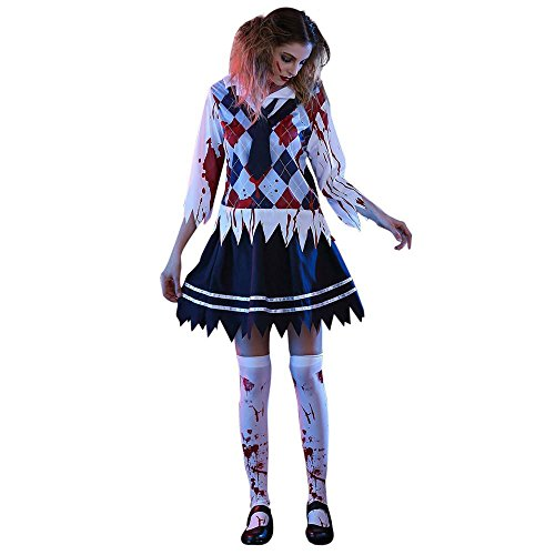 Euone Halloween Women Horror Bloody Student Uniforms Cosplay Party Costume (XL, (Bloody Pad Halloween Costume)