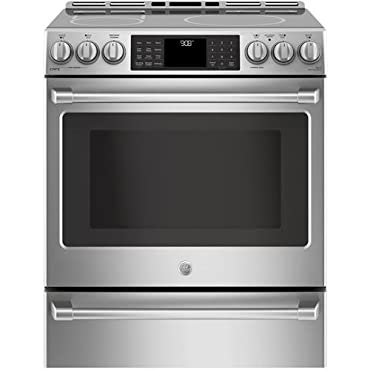 GE Cafe CHS985SELSS 30 Inch Slide-in Electric Range with Smoothtop Cooktop, 5.6 cu. ft. Primary Oven Capacity in Stainless Steel