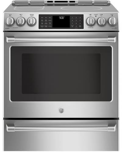 Ge Cafe Chs985 Selss 30 Inch Slide In Electric Range With Smoothtop Cooktop, 5.6 Cu. Ft. Primary Oven Capacity In Stainless Steel by Ge Cafe