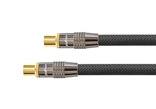 PYTHON® Series PREMIUM TV Antennenkabel - IEC / Koax Stecker an Buchse, vergoldet - RG6 Koaxialkabel mit 4-fach Schirmung, Abschirmmaß 120 dB / 75 Ohm – geeignet für DVB-T2, DVB-T, DVB-S, DVB-C, Radio - Vollmetallstecker, Kupferleiter (OFC), hochwertiges Nylongeflecht - schwarz, 7,5 m