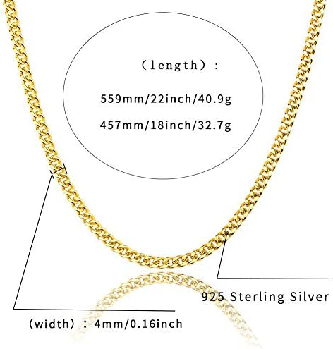 Hip Hop Necklace Rings set Men's Sterling Silver Smooth Square Rings 4mm wide 18inch 22inch Cuban Chain Necklace iced Out Cubic Zircon Jewelry set Gifts,Gold,22inch/8