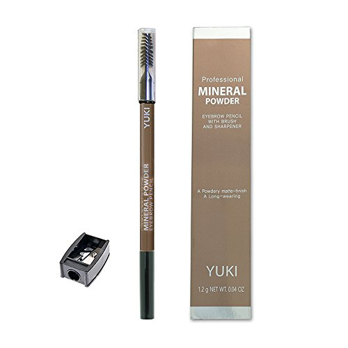 Eyebrow Pencil by YUKI | Professional Mineral Powder with Brush and Sharpener 6 colors 0.04oz (NO.5 - Mens Styles 2014 Glasses