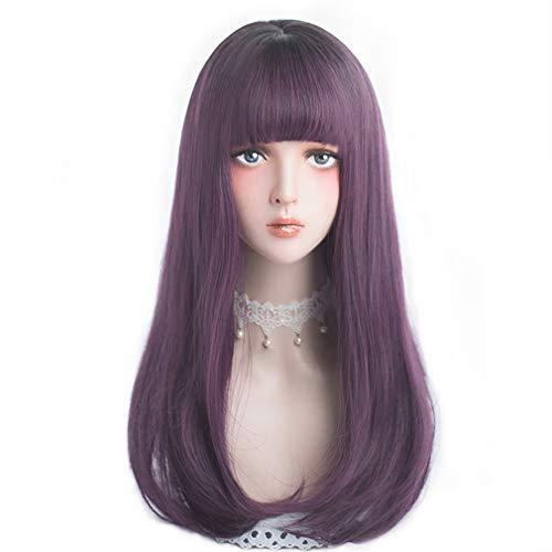 Long Straight Dark Purple Wig product image