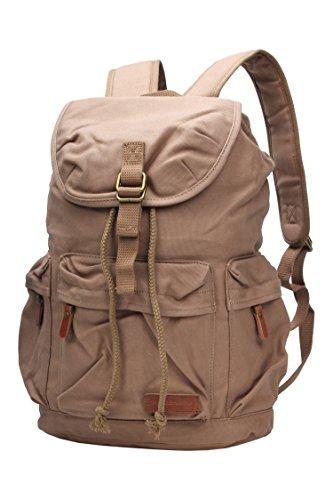 Vintage Canvas Laptop Backpack School College Rucksack Bag (Army green) - 9