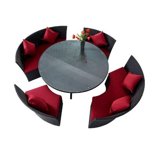 OUTFLEXX Esstischgruppe aus Polyrattan, Kreis komplett schließbar, à 160cm in schwarz