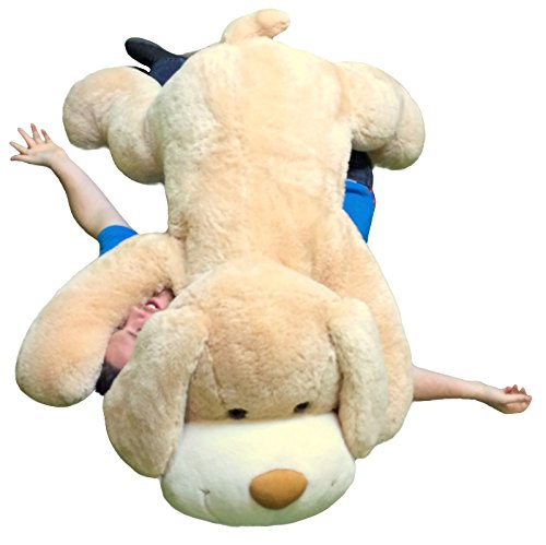 giant stuffed puppy dog 5 feet long squishy soft extremely large plush animal cream color buy. Black Bedroom Furniture Sets. Home Design Ideas