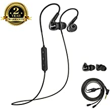Sport Earbuds, Aitalk A8 Dual Driver Musician's In Ear Monitors with Microphone Earhook Removable Cable Noise Isolating Exercise Earphones for Workout Jogging Gym Running (bluetooth black)