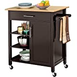 Yaheetech Rolling Kitchen Island Cart with Bamboo Top/Drawer/Towel Rack/Shelves, Portable Kitchen Utility Serving Cart Storage Trolley on Wheels, 34.3Lx 18.5W x 35.8H Inch