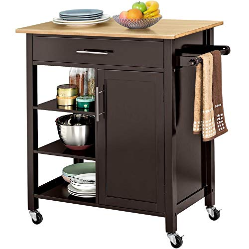 Yaheetech Kitchen Island Cart on Wheels with Bamboo Top Storage Drawer Towel Rack Shelves Cabinet, Rolling Trolley Utility Cart, 34.3Lx 18.5W x 35.8H Inch