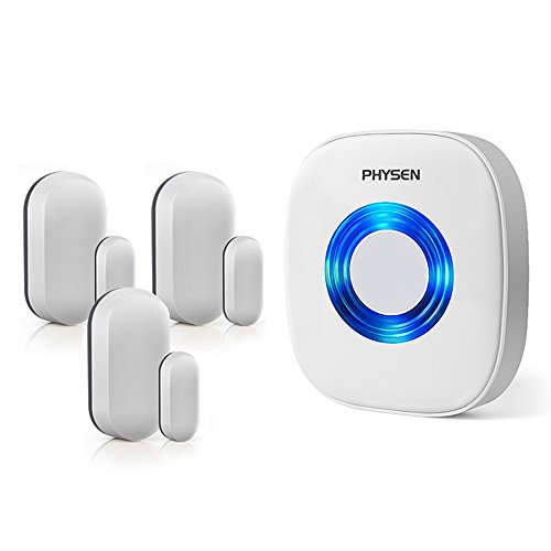 PHYSEN Wireless Door/Window Sensor Chime kit with 3 Magnetic Door Sensors and 1 Remote Receiver with Operating at 260-feet Range,4 Volume Levels with 52 Melodies Chimes for Home/Office/Stores