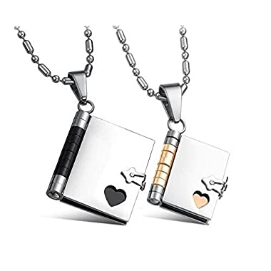 His and Hers Matching Necklaces  Love Story  Book Pendants Set (Writable Pages) Sharpie Not Included