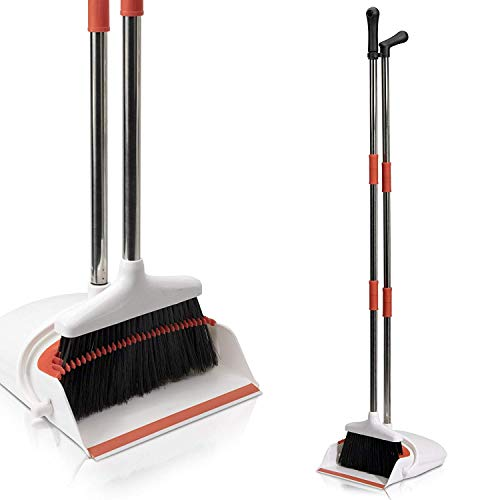 Primica Broom and Dustpan Set - Self-Cleaning Broom Bristles - Ideal Kitchen, Home and Lobby Broom and Dustpan Combo - Premium Brush, Wisp and Dust Cleaner ()