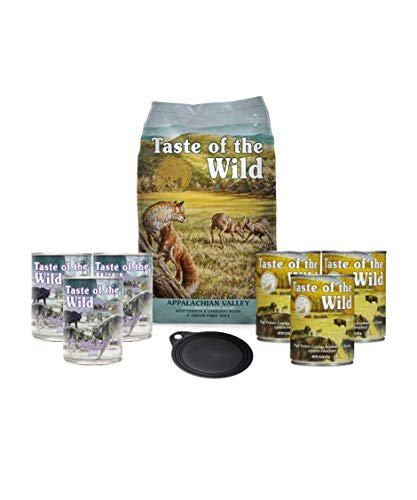 Taste Of The Wild Dog-Food Grain Free 5 lb Bag of Appalachian Valley Small Breed Canine Formula with Venison & garbanzo Beans 1 Bag 6 Cans & 1 Lid Plus 1 Dog Toy and 1 Leash 10 Total Items
