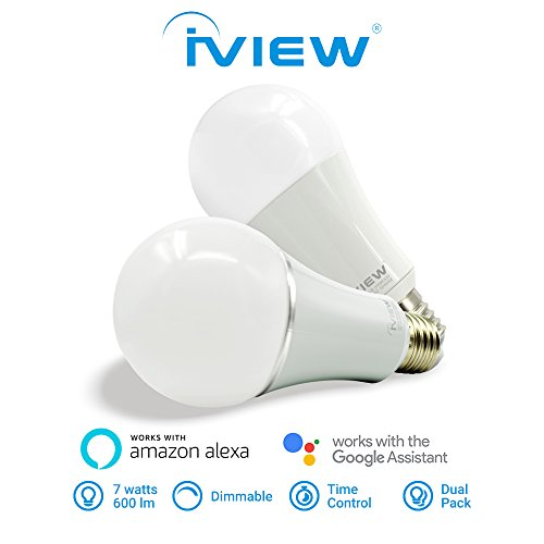 Twin Pack IVIEW-ISB600 WiFi Smart Light Bulb, Multi-color, Dimmable, No Hub Required, Free APP Remote Control, Compatible with Amazon Alexa & Google - Bulbs Light Pack