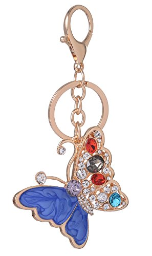 (Giftale Women's Butterfly Keychain,Alloy Bag Charm with Crysatl Blue Enameled Butterfly Car Keyring,#526-8C)