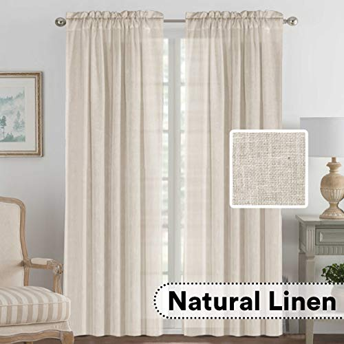H.VERSAILTEX Elegant Natural Linen Blended Energy Efficient Light Filtering Curtains/Rod Pocket Window Treatments Panels/Drapes for Livingroom (Set of 2, Angora, 52