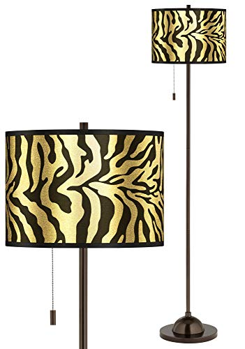 Safari Zebra Gold Metallic Giclee Glow Bronze Club Floor Lamp - Giclee Gallery (Safari Gold Zebra)