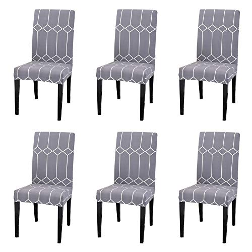 Argstar 6 Pack Chair Slipcovers for Dining Room Spandex Protector Covers for Kitchen Gray Patterned X_11