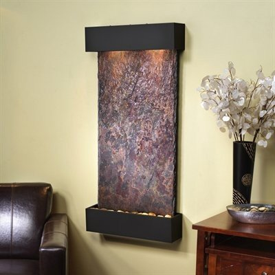 Adagio Whispering Creek Fountain w/Rajah Natural Slate in Blackened Copper Finish ()