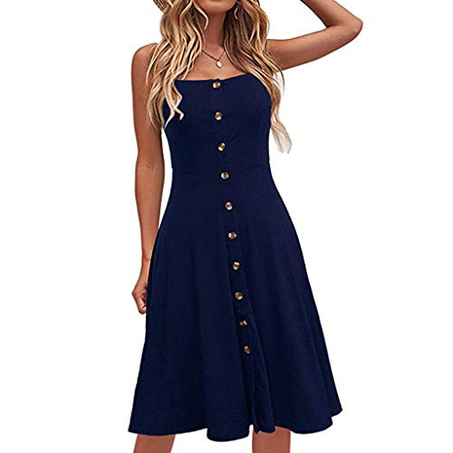 Sunhusing Ladies Solid Color Sexy Strapless Sleeveless Button-Down Waist-Tie Long Dress Casual Party Sundress Navy - Dress Party Poplin