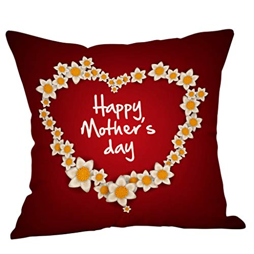 Saitingdianzi Happy Mother's Day Cotton Linen Home Decorative Throw Pillow Case Cushion Cover with Words for Sofa Couch 18 x 18 inch (G, 45 x 45cm) ()