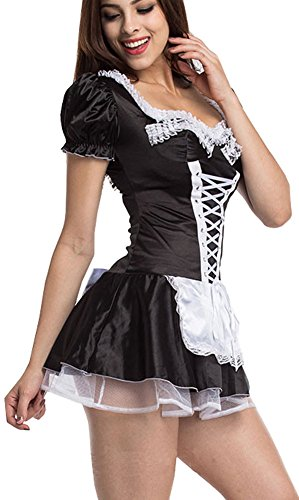 French Maid Outfit (IYISS Women's Sexy Maid Costume (XL=US Size L, Black))