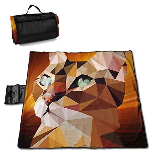 TARDIGA Geometric Fractal Bengal Cat Portable Large Picnic Blanket 57
