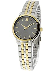 Seiko Womens Two Toned Stainless Steel Grey Dial Watch SUR810