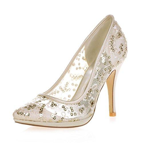 L@YC 0255-32 Zapatos de Tacón alto Femeninos Zapatos de Tacón de Satén con Punta Cerrada Zapatos de Tacón de Satén Gold