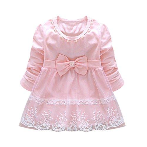 AmyDong Baby Girls Bowknot Lace Dress Long Sleeve Tutu Dress Mesh Dress ()
