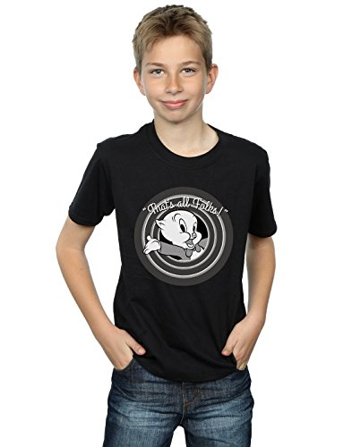 Looney Tunes Boys Porky Pig That's All Folks T-Shirt 7-8 Years Black