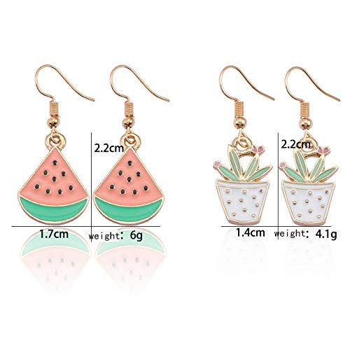 MingJun 2 Pairs Watemelon and Potted Plant Charm Dangle Earrings Fruit Shape Earrings Women Girl Jewelry Gift