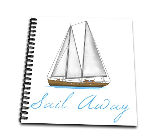 3dRose Macdonald Creative Studios - Nautical - Sail Away Nautical Sailboat Graphic for Sailors. - Memory Book 12 x 12 inch (db_299270_2)