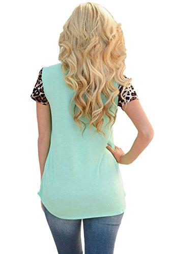 Neue Damen Green & Leopard T-Shirt Club tragen Tops Casual Wear Kleidung Größe M UK 10–12EU 38–40