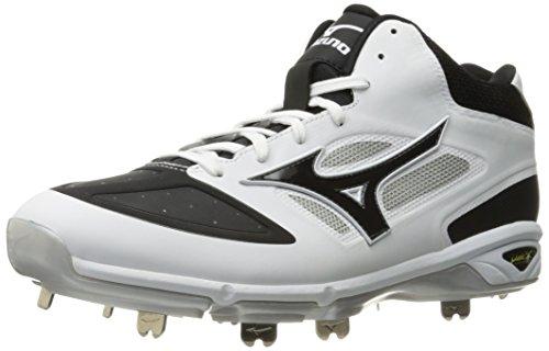 Mizuno Men's Dominant IC Mid Baseball Shoe, White/Black, 12 D US