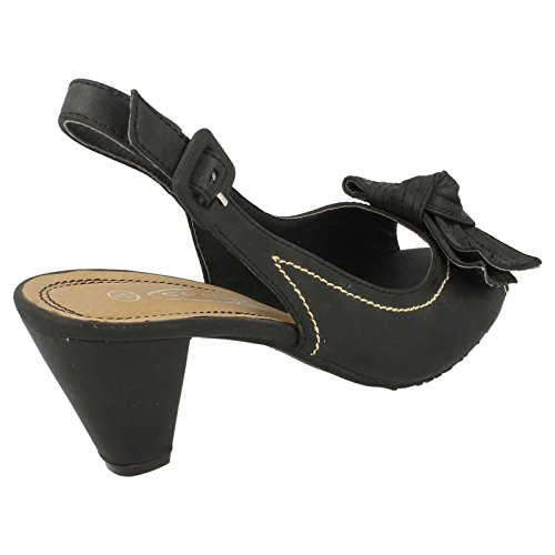 Spot On Heeled Sling / Peeptoe / Bow Vamp Black VVLyFgg