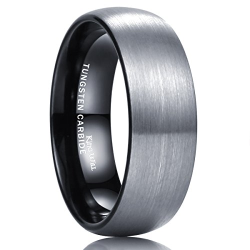 Gray Womens Ring - King Will Basic 8mm Tungsten Carbide Wedding Band Ring for Men with Black Plated Enamel Domed 9