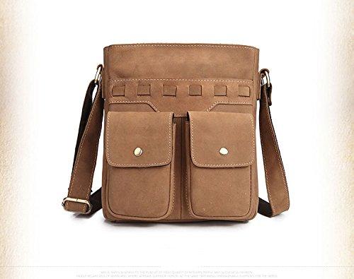 Mefly Hombre De Bolsa De Cuero De Cuero Satchel Marrón Oscuro Flip Top Brown zip fastener