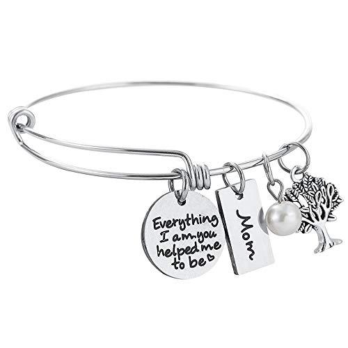 Turandoss Gift for Mom Charm Bracelet - Inspirational Adjustable Charm Bangle Bracelet Engraved Everything I Am You Helped Me to Be Inspirational Birthday for Mom]()
