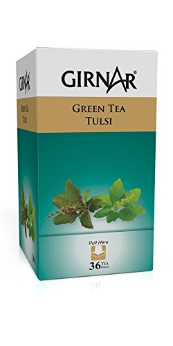 Girnar Green Tea With Tulsi (Basil Leaves) (36 Tea Bag) Scripture Tea Green Tea