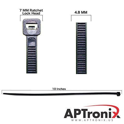 250 Premium Heavy Duty 10 Inch Zip Ties | Black Nylon Cable Ties | XGS Wire Ties by APTronix (10 Inch, Black) by APTronix (Image #1)