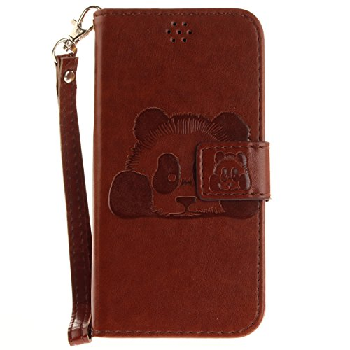 iPhone X Hülle Leder Panda-Prägung, Lomogo Schutzhülle Brieftasche mit Kartenfach Klappbar Magnetverschluss Stoßfest Kratzfest Handyhülle Case für Apple iPhone X - TOXI27513 Violett Braun