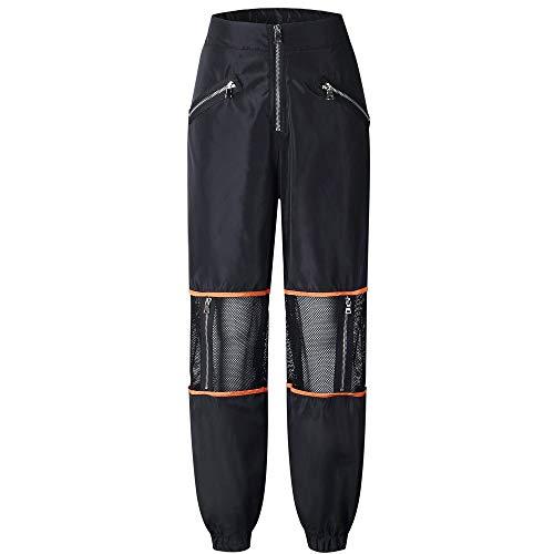 iNoDoZ Women's Hip Hop Fashion Patchwork Zippers Pockets Long Pants High Waist Perspective Sexy Leggings Black