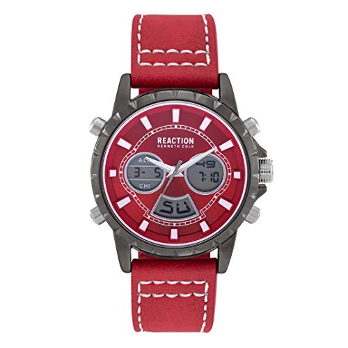 Kenneth Cole Reaction Men's Analog Digital Black Watch on Red Synthetic Strap, 46 mm Case (Model RK50966019)