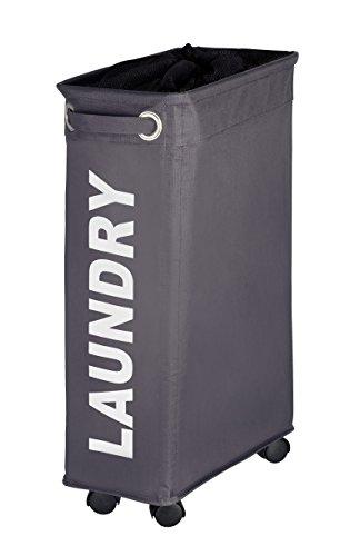 WENKO 3450115100 Wäschesammler Corno Grau - Wäschekorb, Fassungsvermögen 43 L, 100 % Polyester, 18.5 x 60 x 40 cm, Dunkelgrau