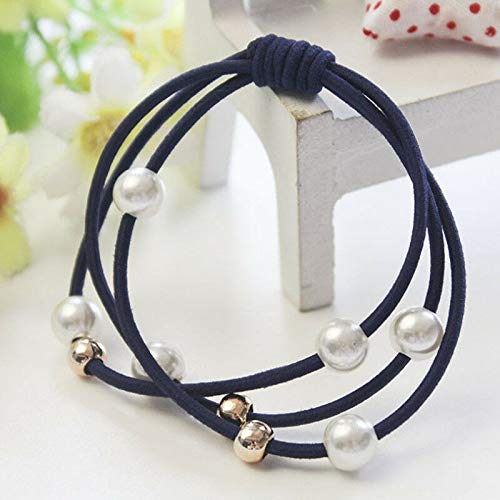 WomenGirl Elastic Ponytail Holder Pearl Hair Tie Ring Rope Hair Bands New (Color - Navy# 5PCS)