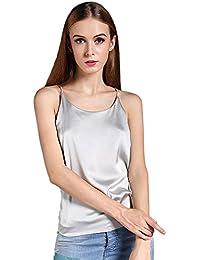 3d884ef4c4944 Women s Basic Silky Satin Full Slip Cami Tops Tunics Sleepwear Nightgown(7  Colors)